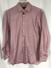 Ben Sherman Long Sleeve Stripe Red White Dress Shirt 100% Cotton 15 32-33 M