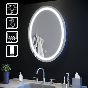 Oval LED ILLUMINATED Bathroom Mirror Make Up Light Smart Touch Control | IP44