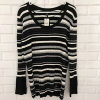 Lane Bryant Black White Gray Striped Ribbed Sweater Long Sleeve Size 22/24 NWT