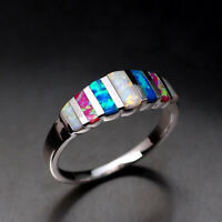 European Style 925 Silver Women Wedding Band Rings Multi-color Opal Ring Sz 6~10