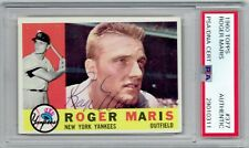 1960 Roger Maris Signed Auto Topps Base Card Yankees #377 PSA/DNA Slabbed