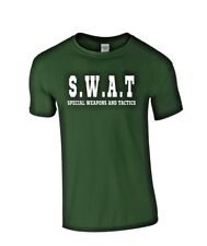 Swat Team T-shirt Adulte S.W.A.T Fancy Dress Costume Police FBI Militaire Tactique