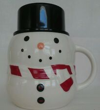 Williams Sonoma BonJour Snowman Cup Mug Christmas Hot Chocolate Coffee Hat Lid