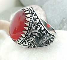 Handmade 925 sterling silver Natural Red Agate Stone Gazelle Men's Woman's Ring