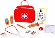 TOOKY TOYS - WOODEN LITTLE DOCTORS MEDICAL SET WITH BAG NEW