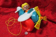 Vintage Fisher Price AIRPLANE PLANE PULL TOY & PILOT, LITTLE PEOPLE 1980