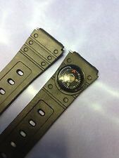 18mm BLACK RUBBER  MEN'S  VINTAGE WATCH BAND  w/ BUILT IN COMPASS  NEW OLD STOCK