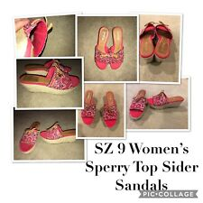 Women's Sperry Top Sider SZ 9 Red Bandana Hillsboro Wedge Sandals EUC
