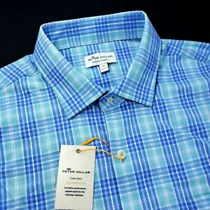 Peter Millar Summer Comfort Performance Stretch Check Oasis Blue Shirt $149