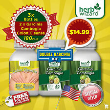 2 Pack PURE Garcinia Cambogia Extract Natural Weight Loss + 60 Colon Cleanse KIT