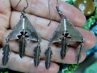 Vintage NATIVE AMERICAN Stamped STERLING Silver WATER FEATHER Totem EARRINGS 🦅