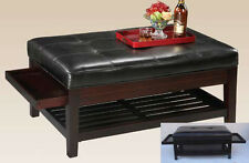 17'H Antique Looking LeatherTop Bench with Shelf & Pullout Trays-Espresso-Asdi
