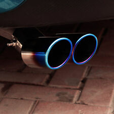 Universal 63mm Stainless Steel Car Exhaust Muffler Tip Tailpipe Dual Outlet Blue