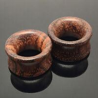 1Pair Brown Natural Wood Saddle Ear Plugs Hollow Piercing Fresh Tunne RAC