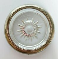 Vintage X4 Sunray Italian Silver Plate Crystal Glass Cocktail Coasters Home Bar