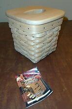New ListingLongaberger Tall Natural Tissue Basket 14184 w/ Lid & Plastic Liner