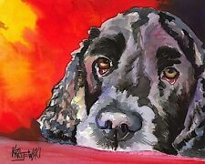 Cocker Spaniel Dog 8x10 Art Print Signed by Artist Ron Krajewski Painting Black