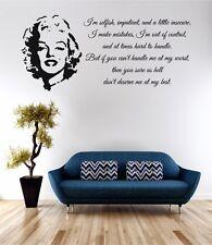 Marilyn Monroe no merecen mi arte de pared calcomanía cita de vinilo de transferencia