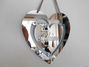 Welcome, engraved on Heart Shaped silver Acrylic Mirror 20cm,