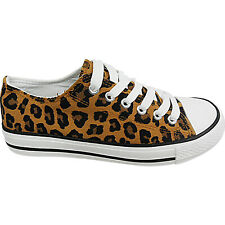 Womens Ladies Flat Lace Up Leopard Canvas Pumps Plimsolls Trainers Shoes Size