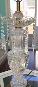 "Beautiful Vintage Crystal Look Table Lamp with Hanging Prisms 40"" Tall"