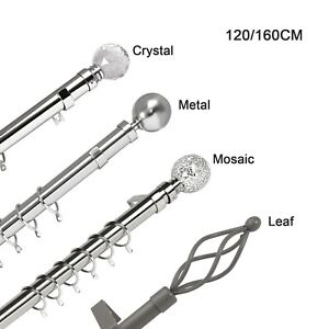 Extendable Metal Curtain Pole Brushed Chrome 19mm & 28mm Includes Finals Rings