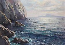 FULVIO DI SORRENTO-Italian Realist-Original Signed Oil- Blue Grotto, Capri Coast