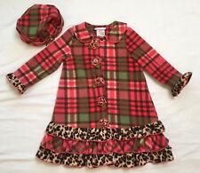 Bonnie Jean Girls 4T Pink Plaid & Leopard Print Fleece Coat & Hat 2 Piece Set