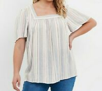 Evans top blouse shirt plus size 14 16 18 20 24 26 30 stripe crinkle square neck