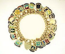 """Sterling Silver 6.75"""" Rounded Curb w/ UK Towns/ Cities Charm Bracelet (6mm Wide)"""