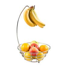 Fruit Stand Holder Basket Kitchen Storage Bowl Banana Hanger Metal Home Chrome