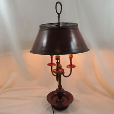 Vintage Bouillotte Metal Lamp Burgundy Red With Tole Shade Missing Candle Sleeve