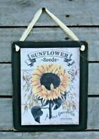 Sunflower Seeds Hanging Wooden Wall Sign Plaque Primitive Rustic Farmhouse
