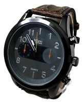 Men's Casual Watch Milano MC43894 Brown F- Leather Band Water Resistant 1ATM
