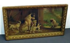 Antique Gold Framed Jack Russell Terrier Dogs & Puppies Chromo Lithograph Print
