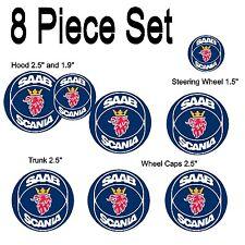 Saab Scania Replacement Decal Sticker 8 Piece Set #1009 hood emblem trunk center