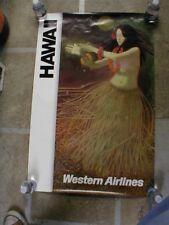 GENUINE ORIGINAL WESTERN AIRLINES HAWAII TRAVEL POSTER - HULA GIRL