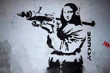 Banksy Mona Lisa with Bazooka 8X12 canvas print street art graffiti reproduction