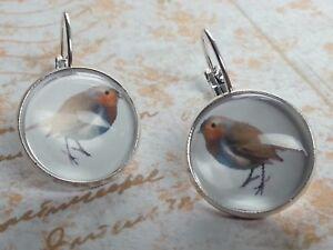 Bird earrings leverback earrings 16 mm gift for her Robin earrings