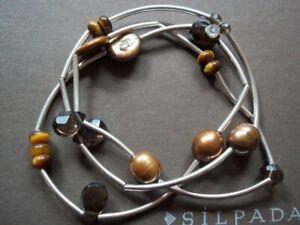 Silpada Sterling Silver Tigers Eye Quartz Stretch Set of 3 Tube Bracelets B2258