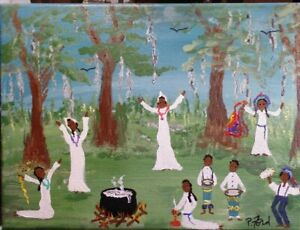 NEW ORLEANS SOUTHERN FOLK ART PAINTING 9x12  BY P. FORD VOODOO DANCE DRUMS