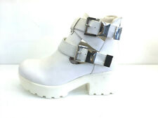 RARE!!! WOMENS LADIES WHITE ANKLE BOOTS MID BLOCK HEEL PLATFORM SHOES SIZE 3