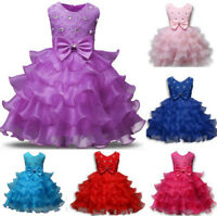 Flower Girl Princess Dress Baby Kid Party Wedding Formal Tutu Tulle Dresses