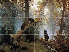 Morning in a pine forest bears Tile Mural Kitchen Wall Backsplash Marble Ceramic