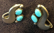 Exceptional Zuni Fred Bowannie Sr attr Sterling & Turquoise Earrings mid-Century