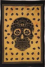 Wonderful  Wall Art Colorful Skull Dsgin Small Indian Cotton Tapestry Poster
