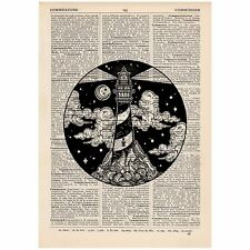 Phare Mountain Cercle Dictionnaire Imprimer Unique, voyage, Art, Unique, Cadeau,