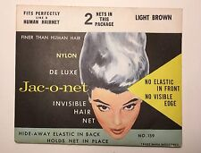 Vintage Jac-O-Net Hair Nets No. 159 Light Brown 2 Nets Per Package English Made