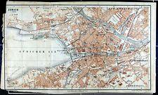 ZÜRICH, alter farbiger Stadtplan, datiert 1901