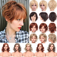 Women Ladies Glueless Synthetic Full Wig Natural Curly Wave Straight Long Wigs